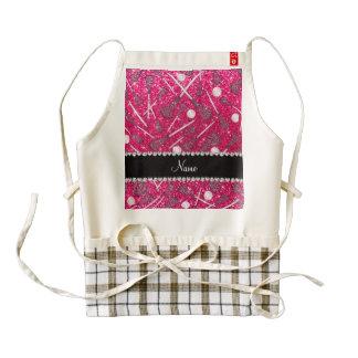 Custom name rose pink glitter lacrosse sticks zazzle HEART apron