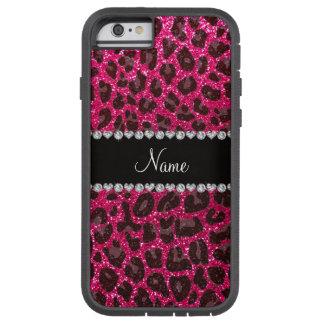 Custom name rose pink glitter leopard print tough xtreme iPhone 6 case