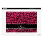 Custom name rose pink glitter leopard print skins for laptops