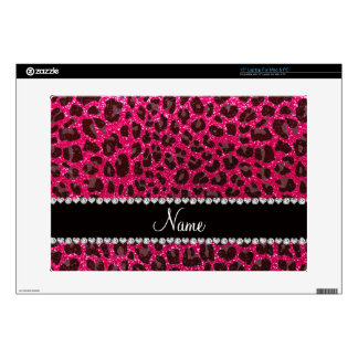 Custom name rose pink glitter leopard print skins for laptops