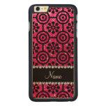 Custom name rose pink glitter retro flowers carved® maple iPhone 6 plus slim case