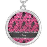 Custom name rose pink glitter roller derby custom necklace