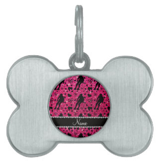Custom name rose pink glitter roller derby pet ID tag