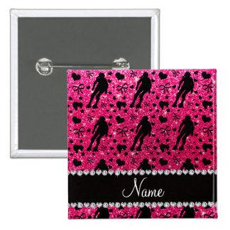 Custom name rose pink glitter roller derby pinback button