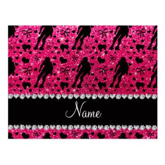 Custom name rose pink glitter roller derby postcard
