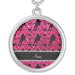 Custom name rose pink glitter roller derby round pendant necklace