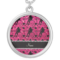 Custom name rose pink glitter roller derby silver plated necklace
