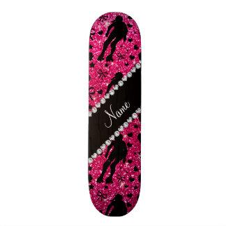 Custom name rose pink glitter roller derby skate deck