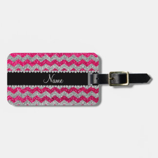 Custom name rose pink silver glitter chevrons tag for bags