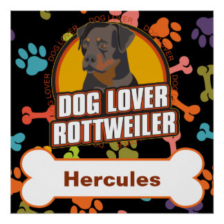 Custom Name Rottweiler Dog Bone Puppy Paws Poster