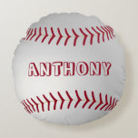 "Custom Name Round Baseball Throw Pillow<br><div class=""desc"">Custom baseball throw pillow! Great for a baseball themed room!</div>"