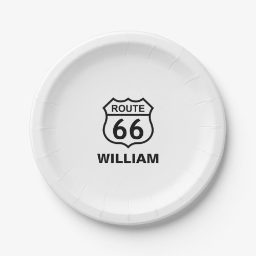 Custom Name Route 66 Sign Personalized Paper Plate