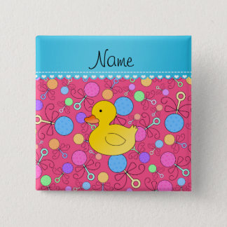 Custom name rubber duck pink baby rattles button