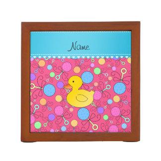 Custom name rubber duck pink baby rattles desk organizer