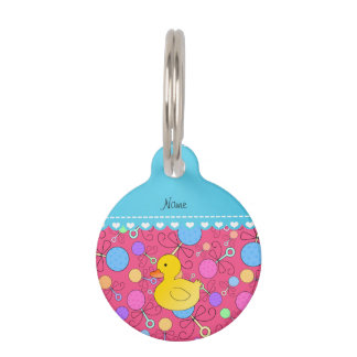 Custom name rubber duck pink baby rattles pet nametags