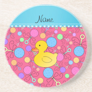 Custom name rubber duck pink baby rattles drink coasters