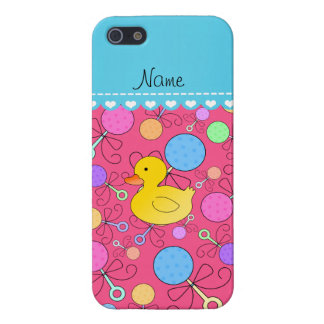 Custom name rubber duck pink baby rattles iPhone 5/5S case