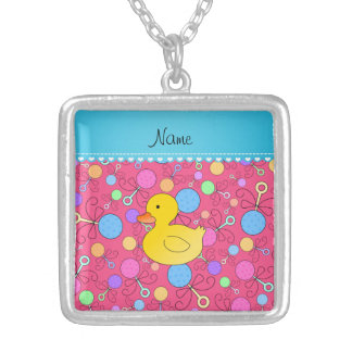 Custom name rubber duck pink baby rattles custom necklace