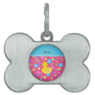 Custom name rubber duck pink baby rattles pet tags