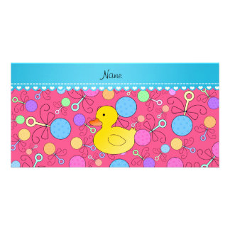 Custom name rubber duck pink baby rattles photo card