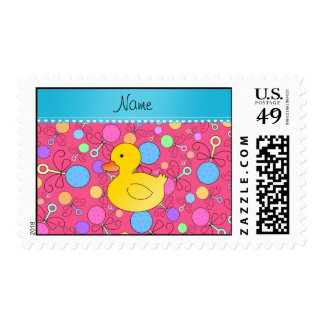 Custom name rubber duck pink baby rattles postage