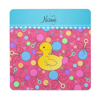 Custom name rubber duck pink baby rattles puzzle coaster
