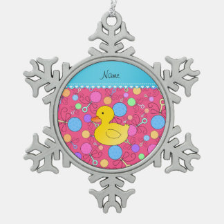 Custom name rubber duck pink baby rattles snowflake pewter christmas ornament