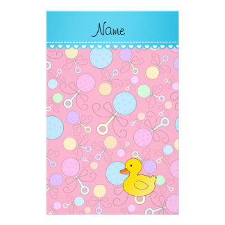 Custom name rubber duck pink baby rattles customized stationery