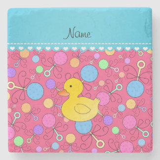 Custom name rubber duck pink baby rattles stone beverage coaster