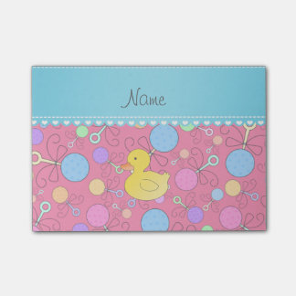 Custom name rubber duck pink baby rattles post-it® notes