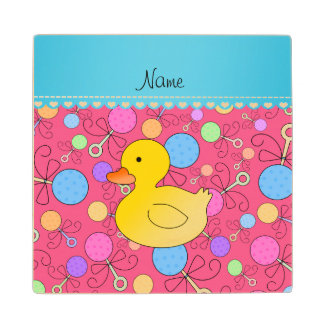Custom name rubber duck pink baby rattles wood coaster