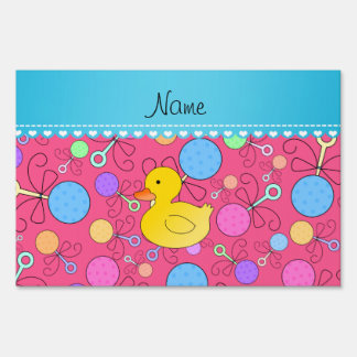 Custom name rubber duck pink baby rattles yard signs