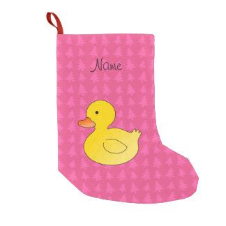 Custom name rubber duck pink trees small christmas stocking