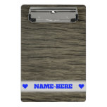 [ Thumbnail: Custom Name + Rustic Faux Wood Look Pattern Clipboard ]