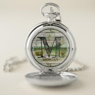 Custom NAME Rustic Green Farm Barn Wood Monogram Pocket Watch