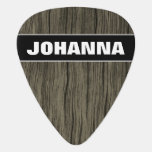[ Thumbnail: Custom Name + Rustic Wood Look Pattern Guitar Pick ]
