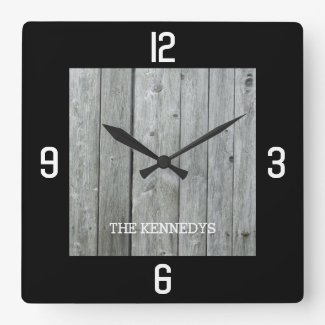Custom Name Rustic Wood Planks Black Square Wall Clock