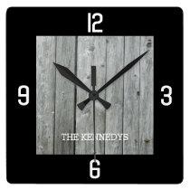 Custom Name Rustic Wood Planks Black Square Wall Clock