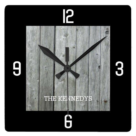 Custom Name Rustic Wood Planks Black Square Wall Clock ...