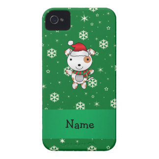 Custom name santa claus dog green snowflakes iPhone 4 cases