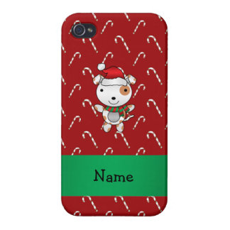 Custom name santa claus dog red candy canes cover for iPhone 4