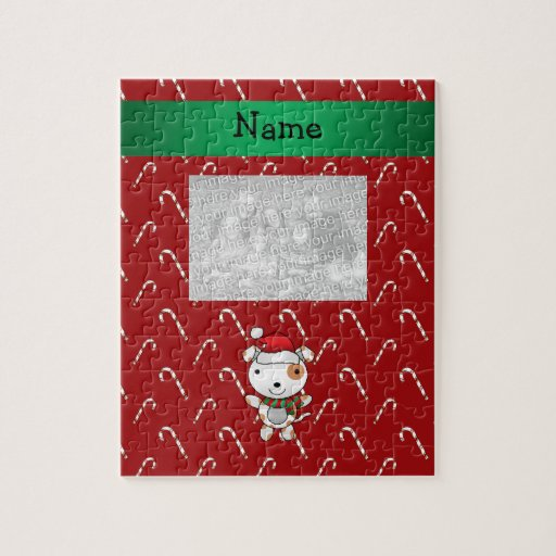 Custom name santa claus dog red candy canes jigsaw puzzle