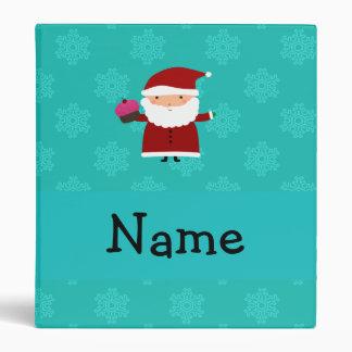 Custom name santa cupcake turquoise snowflakes vinyl binders