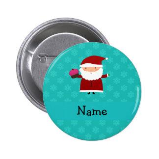 Custom name santa cupcake turquoise snowflakes button