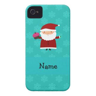 Custom name santa cupcake turquoise snowflakes iPhone 4 Case-Mate cases