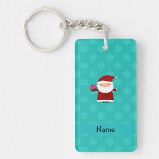 Custom name santa cupcake turquoise snowflakes Double-Sided rectangular acrylic keychain