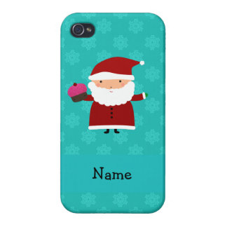 Custom name santa cupcake turquoise snowflakes case for iPhone 4