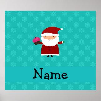 Custom name santa cupcake turquoise snowflakes poster