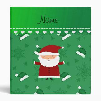 Custom name santa green santa hats snowflakes vinyl binder