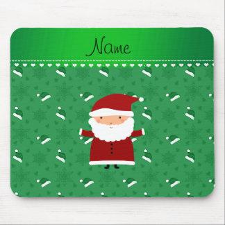 Custom name santa green santa hats snowflakes mouse pad